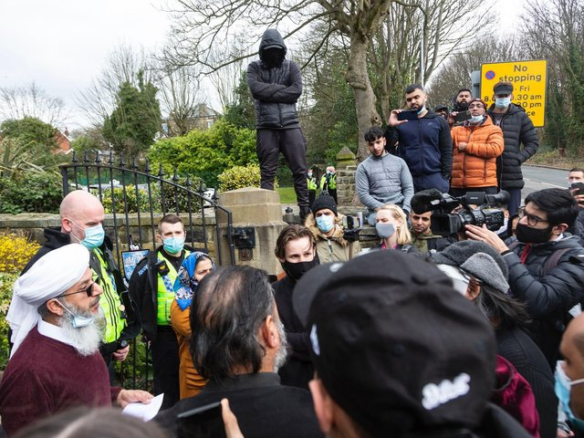 Protests were held outside Batley Grammar School over two days.