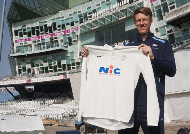 Shirt deal: Yorkshire captain Steve Patterson with the sponsored shirt.