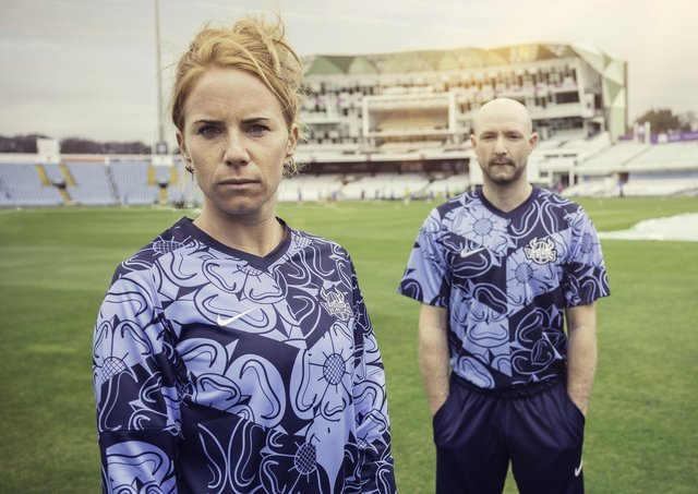 Yorkshire's Lauren Winfield-Hill and Adam Lyth in the new Vitality Blast kit.   Picture: Yorkshire CCC