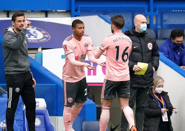 GAME TIME: Sheffield United's Rhian Brewster comes on for Oliver Norwood at Stamford Bridge. Picture: John Walton/PA