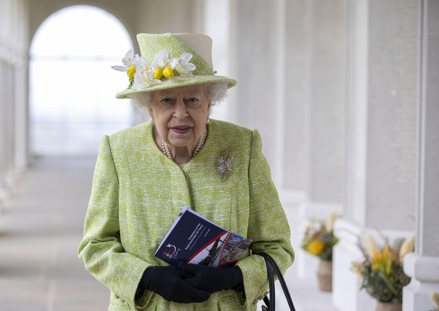 The Queen during a visit to the CWGC Air Forces Memorial in Runnymede, Surrey, to attend a service to mark the Centenary of the Royal Australian Air Force.