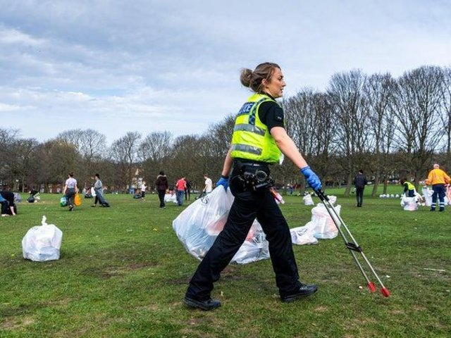 Police have assisted with the litter picking operation on Woodhouse Moor