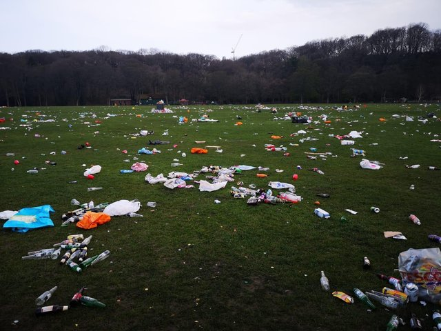 Rubbish left at Endcliffe Park after a day of partying