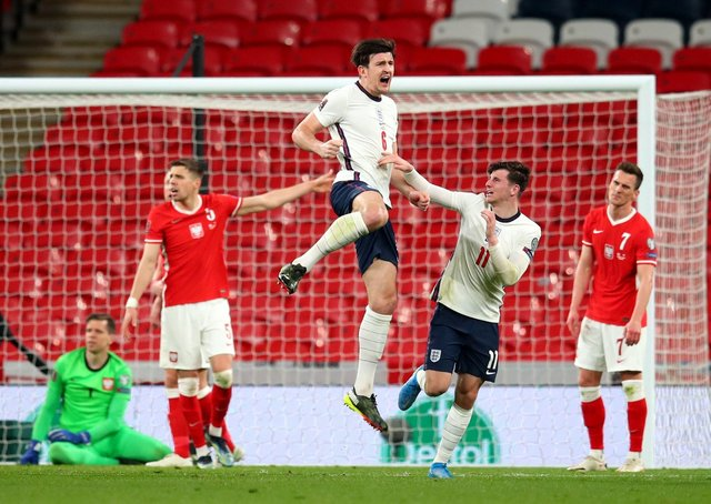 England's Harry Maguire (centre) celebrates scoring the winning goal. Picture: PA