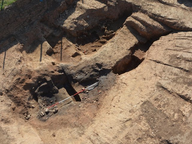 Image from the dig showing the intensely burned area  Credit Stephen Sherlock