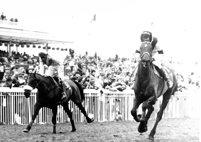 West Tip and Richard Dunwoody (right) deny Young Driver and Chris Grant (left) in the 1986 Grand National.
