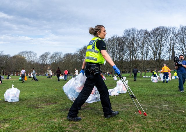 This was the state of Woodhouse Moor, Leeds, after groups of people took advantage of the easing of lockdown restrictions. Photo: James Hardisty.