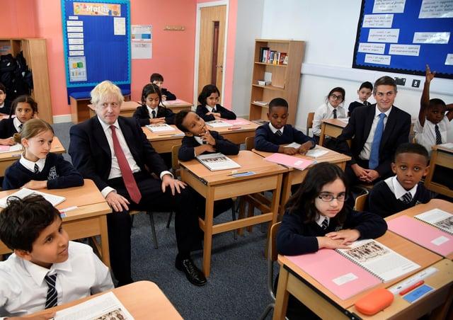 Boris Johnson and Gavin Williamson during a school visit prior to the lockdown.