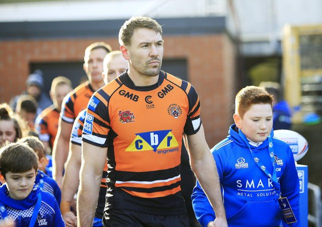 Castleford's Michael Shenton leads his team out. Picture: Chris Mangnall/SWpix.com
