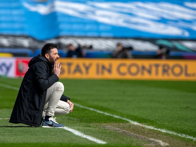 Huddersfield Town head coach Carlos Corberan on the touchline in Saturday's home game with Brentford. Picture: Bruce Rollinson.