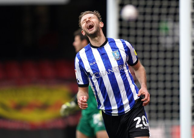 Sheffield Wednesday's Jordan Rhodes reacts after a missed chance. Picture: PA.