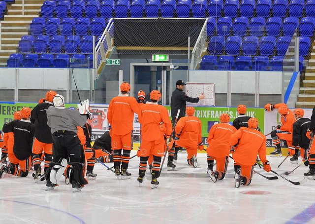 NOW HEAR THIS: Sheffield Steelers' head coach Aaron Fox goes through a drill with his players at Ice Sheffield earlier this week. Picture: Dean Woolley.