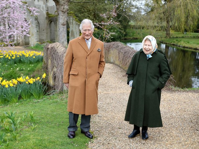 Queen Elizabeth II and the Prince of Wales on March 23, 2021 in the garden of Frogmore House in Windsor,