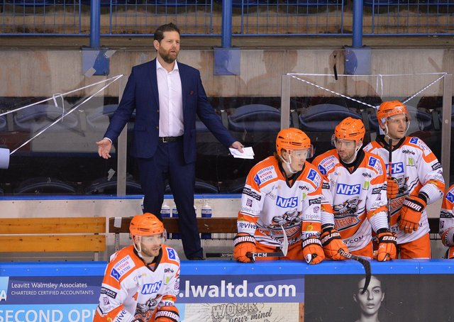 FRUSTRATIONS: Sheffield Steelers' head coach, Aaron Fox on the bench against Manchester on Sunday. Picture: Dean Woolley.