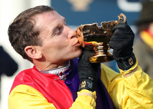 Richard Johnson celebrates the 2018 Gold Cup win of Native River.