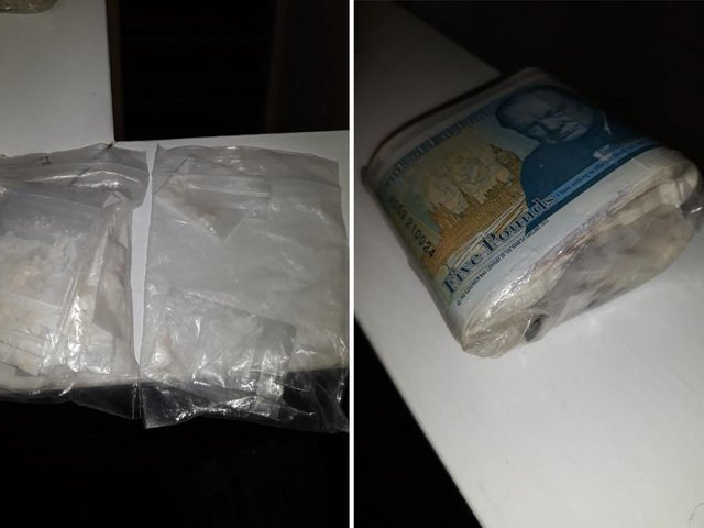 Police found a white substance and a bundle of cash in the flat