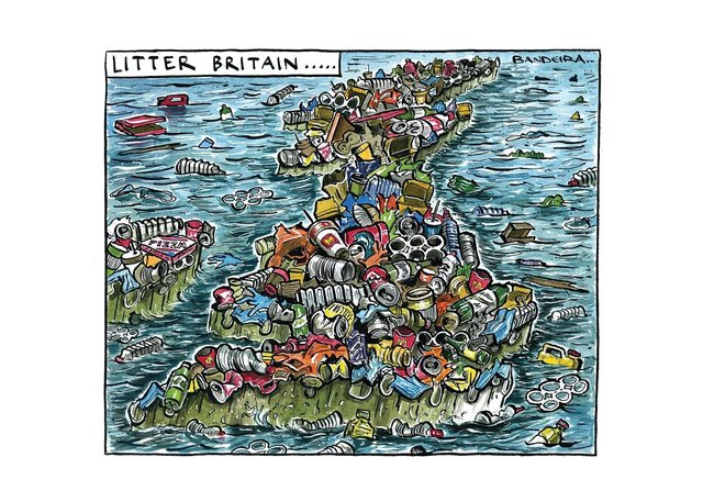 Graeme Bandeira's cartoon illustrating the country's litter epidemic.