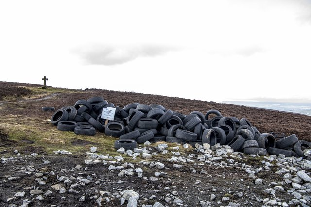 These tyres were recently dumped on Ilkley Moor amid mounting concerns over flytipping and litter.
