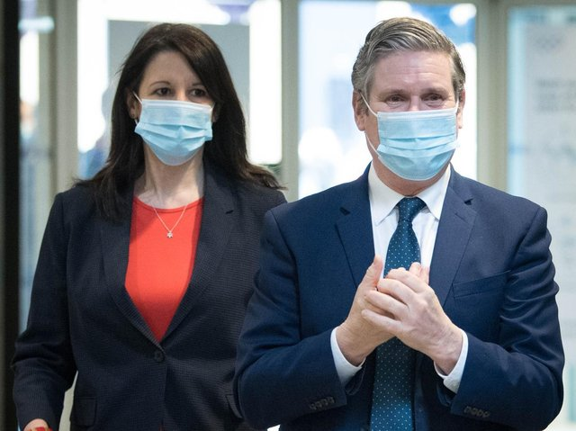 Shadow Chancellor of the Duchy of Lancaster, Rachel Reeves pictured with Labour party leader Sir Keir Starmer during a visit to Chelsea and Westminster Hospital, London. Photo: PA