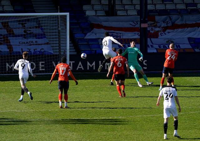 Barnsley's Daryl Dike scores his side's winning goal at Kenilworth Road. Picture: John Walton/PA
