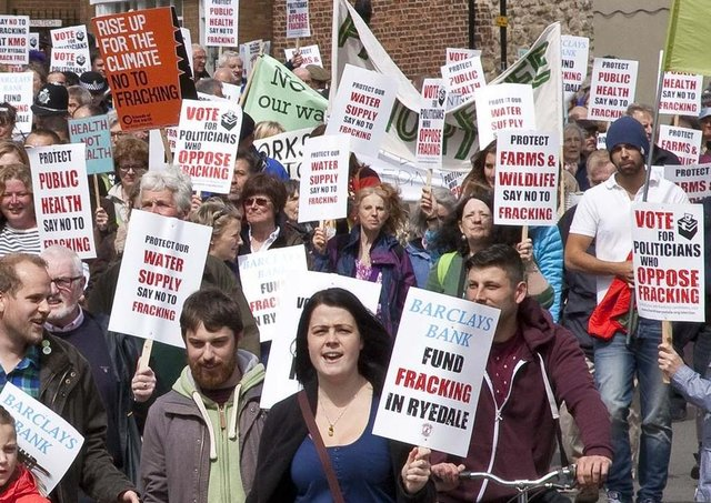 Ther scene when anti-fracking protresters took to the streets of Malton.