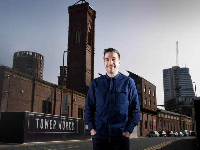 Patrick O'Mahony from Newsubstance is pictured outside the Leeds-based creative company's headquarters in Tower Works on Globe Road, Leeds. The firm has been selected to create a work for Festival UK 2022 with an installation themed around the British weather.  (Picture: Simon Hulme.)