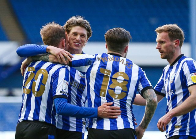 Sheffield Wednesday players celebrate during their 5-0 demolition of Cardiff City. Picture: PA