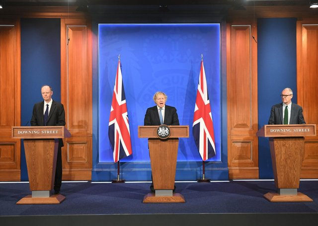 Chief Medical Officer Professor Chris Witty, Prime Minister Boris Johnson and Chief scientific adviser Sir Patrick Vallance, during a media briefing in Downing Street, London, on coronavirus (Covid-19).