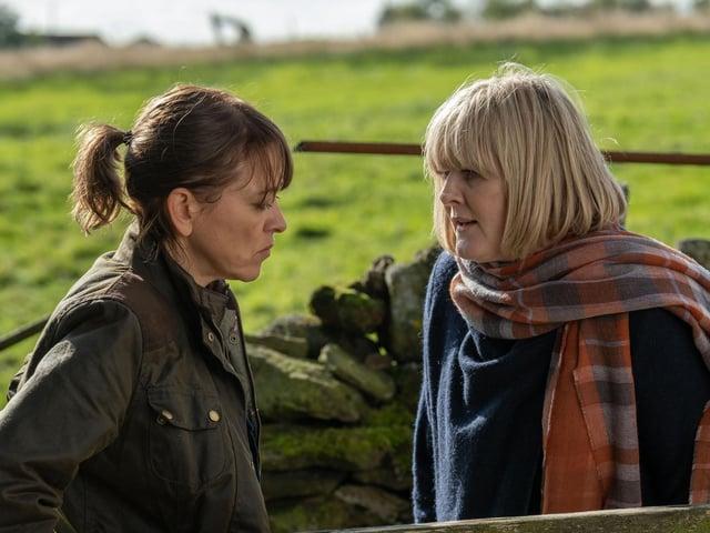 BBC handout photo of Nicola Walker as Gillian and Sarah Lancashire as Caroline in  BBC One drama , Last Tango In Halifax