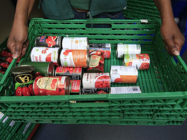 File photo of stocks of food at a food bank. Photo: PA