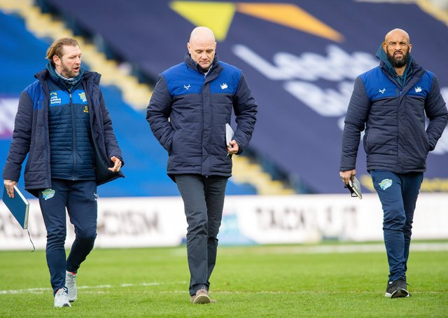 Leeds Rhinos head coach Richard Agar, centre, with assistants, former St Helens star Sean Long, and Jamie Jones-Buchanan. Picture: Bruce Rollinson/JPIMedia.