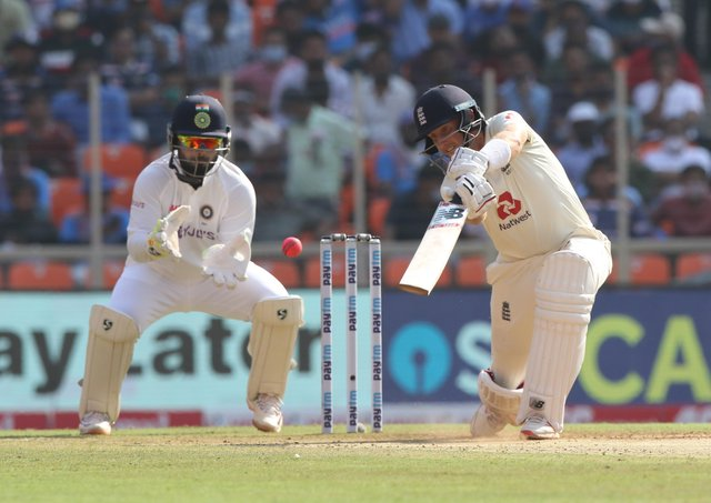 FORM GUY: Joe Root drives through the covers during the recent Test series against India. Picture courtesy of Pankaj Nangia/ Sportzpics for BCCI (via ECB).