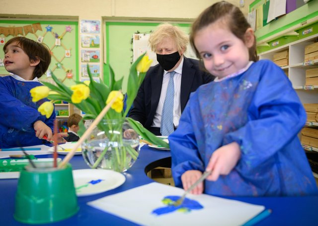 Boris Johson during a school visit - but when will he prioritise education policy?