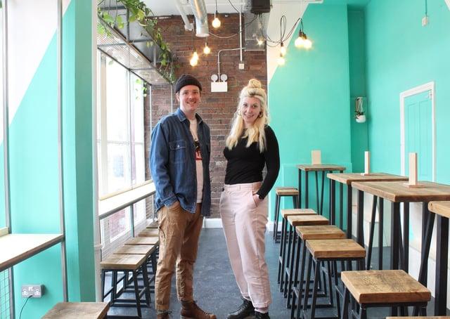 Sean and Elly Pattison-Walker, in their new craft beer bar, Dukes, Market Arcade, Halifax