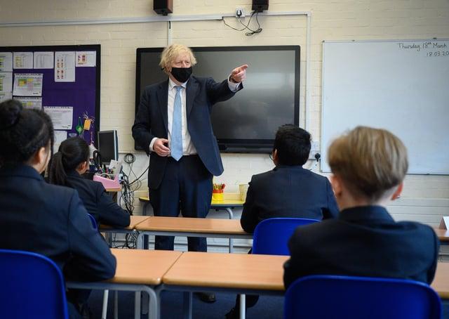 Boris Johnson during a recent school visit.