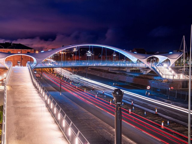 The new bridge over the A63 - called Murdoch's Connection - in Hull