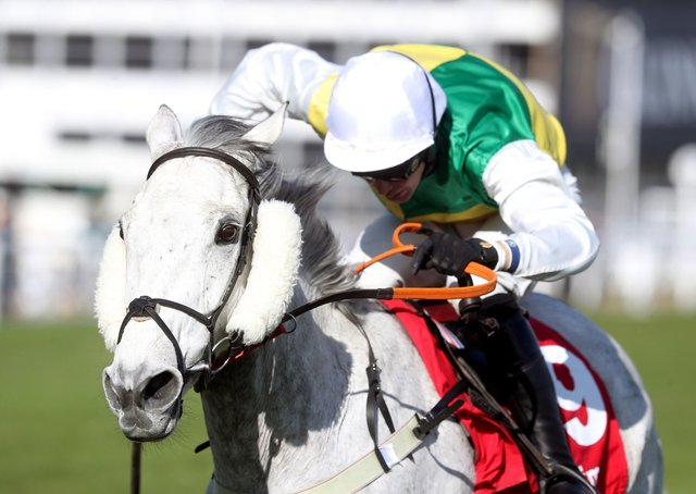 This was Ryan Mania winning the Ultima Handicap Chase at the Cheltenham Festival on Vintage Clouds.