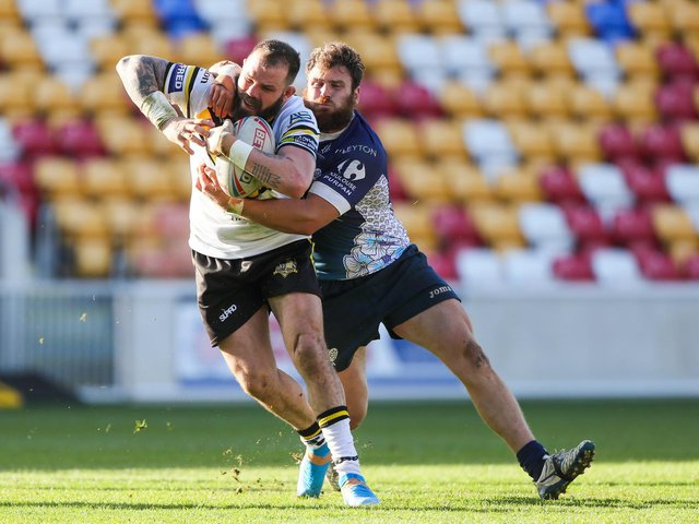 York City Knights' Adam Cuthbertson in action against Toulouse Olympique last weekend. (Alex Whitehead/SWpix.com)