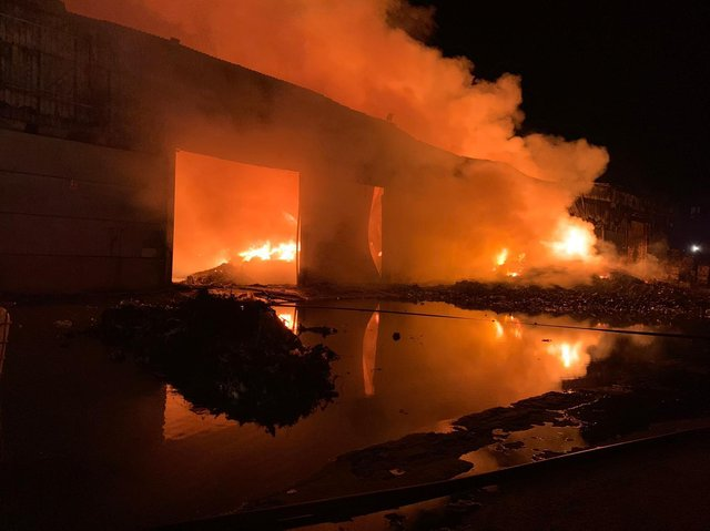 The blaze at the recycling centre on Carr Hill, Balby, Doncaster, started at around 9.20pm on Monday.