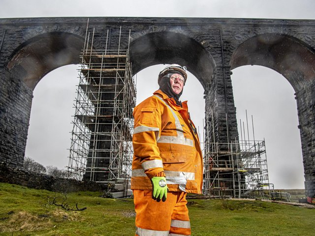 Jimmy Lunny whose father worked restoring the Ribblehead Viaduct in the 1970s whilst working for the railways. Jimmy is part of the team who have been working on the listed building in the Dales during restoration works for the last few months.
