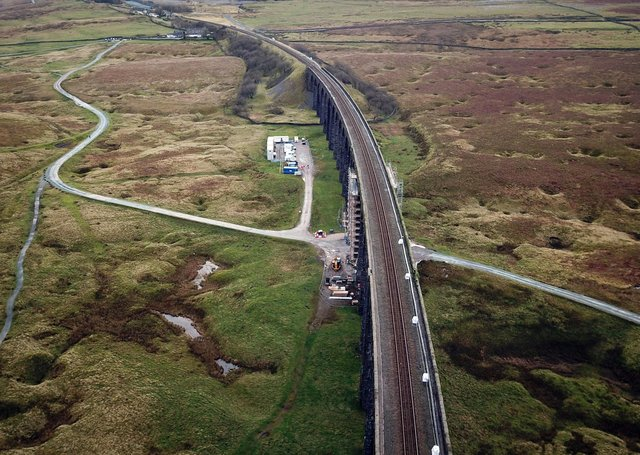 An aerial view of engineering work on the Ribblehead Viaduct.