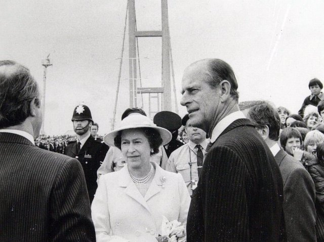 Prince Philip and The Queen at the opening of the Humber Bridge