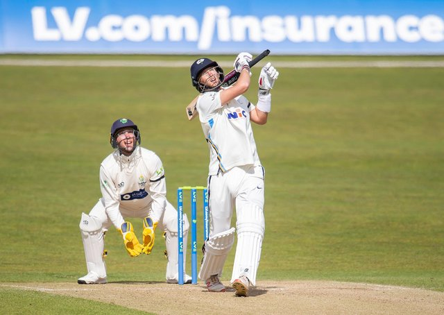 UP AND OUT: Yorkshire's Joe Root hits out against Glamorgan and is caught for 16. Picture by Allan McKenzie/SWpix.com