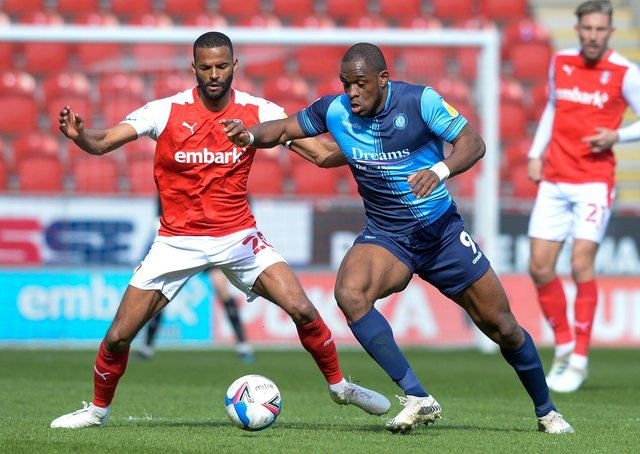 Crushing blow: Rotherham United's 3-0 defeat at hands of fellow strugglers Wycombe Wanderers was a body blow to the survival hopes of Rotherham's Michael Ihiekwe (left) and his team who face Huddersfield Town today.  Picture: Dean Atkins