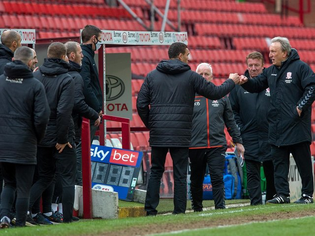 Barnsley head coach Valerien Ismael exchanges pleasantries with Middlesbrough rival Neil Warnock. PICTURE: BRUCE ROLLINSON.