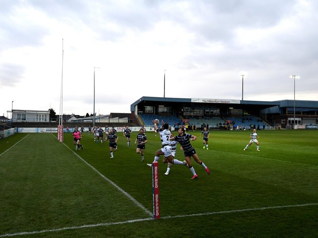 Hull FC's Bureta Faraimo in action against Featherstone Rovers. (Photo by George Wood/Getty Images)