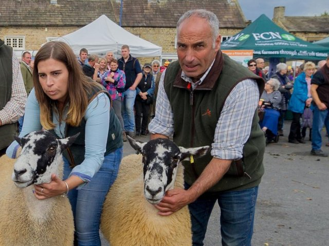 Hannah Brown and her father Martin at Masham Sheep Fair