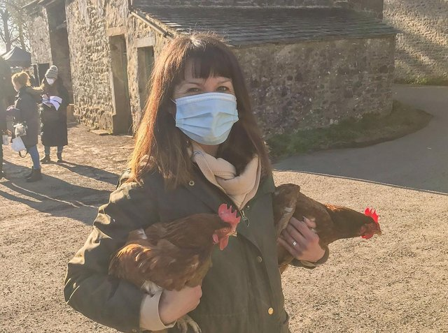 Rebecca Ward-Dooley supplied four of her rescue hens at the last minute