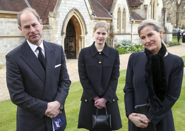 The Earl and Countess of Wessex, with their daughter Lady Louise Windsor, as they paid tribute to Prince Philip.