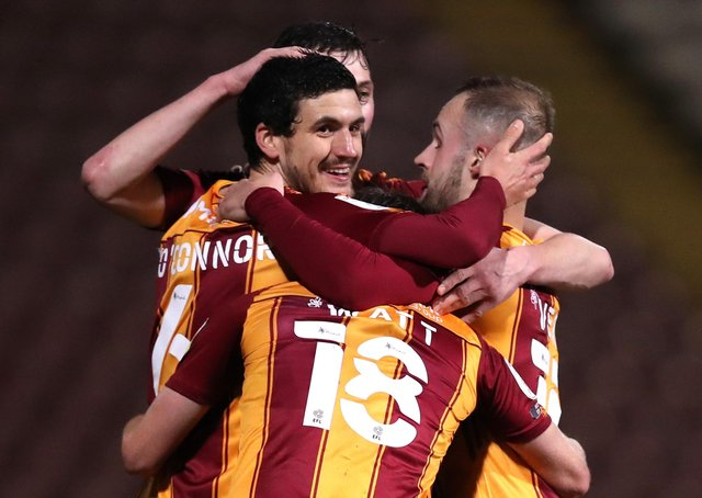 Bradford City's Anthony O'Connor scored the winning goal against Grimsby. (Photo by George Wood/Getty Images)